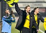 2018-02-17 / voetbal / seizoen 2017-2018 / Oosterzonen - Berchem / Keeper Bruno Appels (l) (Berchem, Tim Verstraeten (m) (Berchem) en Stef Van den Heuvel (r) (Berchem) vieren een feestje na de winst op Oosterzonen