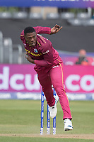 Sheldon Cottrell (West Indies) during West Indies vs New Zealand, ICC World Cup Warm-Up Match Cricket at the Bristol County Ground on 28th May 2019
