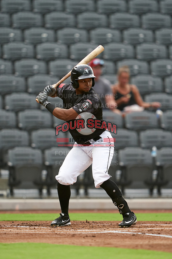 Fayetteville Woodpeckers Corey Julks (10) at bat during a Carolina League game against the Down East Wood Ducks on August 13, 2019 at SEGRA Stadium in Fayetteville, North Carolina.  Fayetteville defeated Down East 5-3.  (Mike Janes/Four Seam Images)