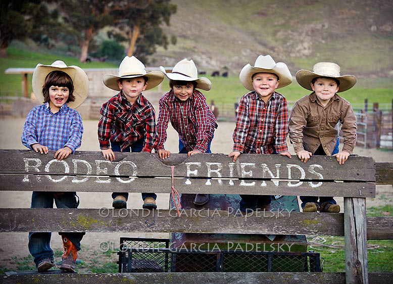 Young cowboy rodeo friends, San Luis Obispo, California