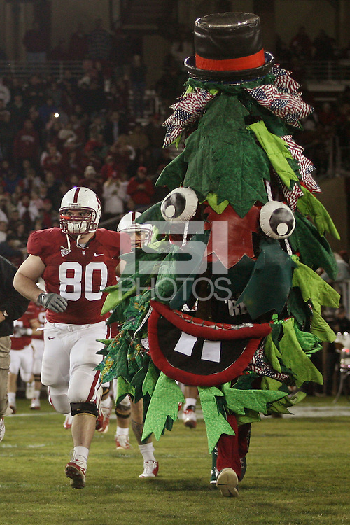 STANFORD, CA - NOVEMBER 21:  James McGillicuddy of the Stanford Cardinal and the Stanford Tree during Stanford's 34-28 loss to the California Golden Bears in112th Big Game on November 21, 2009 at Stanford Stadium in Stanford, California.