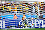 Julio Cesar (BRA),<br /> JUNE 28, 2014 - Football / Soccer :<br /> Brazil's goalkeeper Julio Cesar saves a shot by Chile's Alexis Sanchez in the penalty shoot out during the FIFA World Cup Brazil 2014 Round of 16 match between Brazil 1(3-2)1 Chile at Estadio Mineirao in Belo Horizonte, Brazil. (Photo by D.Nakashima/AFLO)