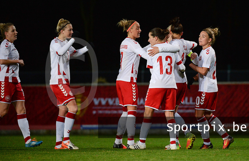20161128 - TUBIZE ,  BELGIUM : Danish players celebrating their 2nd goal pictured during the female soccer game between the Belgian Red Flames and Denmark , a friendly game before the European Championship in The Netherlands 2017  , Monday 28 th November 2016 at Stade Leburton in Tubize , Belgium. PHOTO SPORTPIX.BE | DIRK VUYLSTEKE