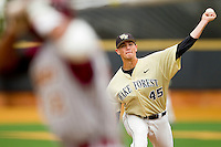 Wake Forest Demon Deacons starting pitcher Brian Holmes #45 delivers a pitch to the plate against the Florida State Seminoles at Wake Forest Baseball Park on March 25, 2012 in Winston-Salem, North Carolina.  The Demon Deacons defeated the Seminoles 7-5.  (Brian Westerholt/Four Seam Images)