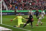 17.03.2019, BayArena, Leverkusen, GER, DFL, 1. BL, Bayer 04 Leverkusen vs SV Werder Bremen, DFL regulations prohibit any use of photographs as image sequences and/or quasi-video<br /> <br /> im Bild Strafraumszene . Torchance von Julian Brandt (#10, Bayer 04 Leverkusen) vor Jini Pavlenka (#1, SV Werder Bremen) <br /> <br /> Foto © nph/Mauelshagen