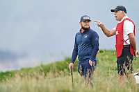 Tyrrell Hatton (ENG) and caddy Steve Williams on the 17th green during the final round of the US Open Championship, Pebble Beach Golf Links, Monterrey, Calafornia, USA. 16/06/2019.<br /> Picture Fran Caffrey / Golffile.ie<br /> <br /> All photo usage must carry mandatory copyright credit (© Golffile | Fran Caffrey)