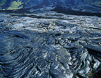 Patterns in pahoehoe lava. Hawaii Volcanoes National Park, Island of Hawaii.