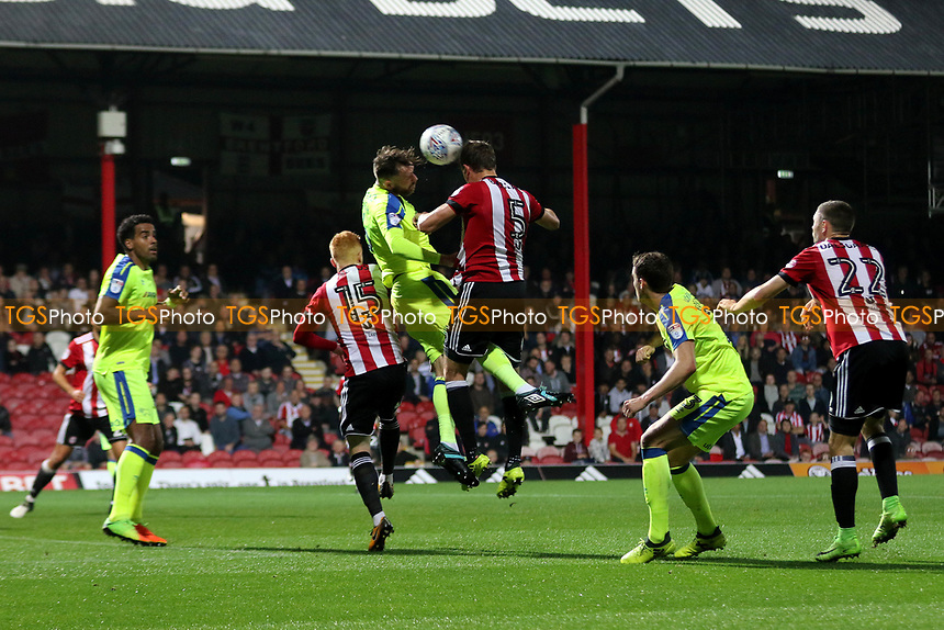 Andreas Bjelland of Brentford heads the ball towards the Derby goal during Brentford vs Derby County, Sky Bet EFL Championship Football at Griffin Park on 26th September 2017