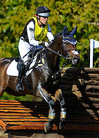 Anthony Patch, with rider Laine Ashker (USA), competes during the Cross Country test during the Fair Hill International at Fair Hill Natural Resources Area in Fair Hill, Maryland on October 20, 2012.