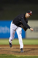 Kannapolis Intimidators relief pitcher Jason Bilous (26) follows through on his delivery against the Rome Braves at Kannapolis Intimidators Stadium on April 4, 2019 in Kannapolis, North Carolina.  The Braves defeated the Intimidators 9-1. (Brian Westerholt/Four Seam Images)