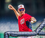 6 September 2014: Washington Nationals Manager Matt Williams tosses batting practice prior to a game against the Philadelphia Phillies at Nationals Park in Washington, DC. The Nationals fell to the Phillies 3-1 in the second game of their 3-game series. Mandatory Credit: Ed Wolfstein Photo *** RAW (NEF) Image File Available ***