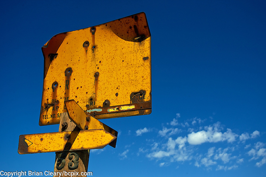 A blank, rusty road sign under a blue Utah sky near the Great Salt Lake , Salt Lake City, Utah, autumn 2009. (Photo by Brian Cleary/www.bcpix.com)