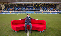 Wycombe Wanderers Head of Media sits on the BBC Sofa During BBC Breakfast as they air their live broadcast on Tuesday morning, presented by Bill Turnbull for his penultimate appearance on the programme at Adams Park, High Wycombe, England on 23 February 2016. Photo by Andy Rowland.
