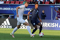 Demarai Gray of England and Milan Skriniar of Slovakia during Slovakia Under-21 vs England Under-21, UEFA European Under-21 Championship Football at The Kolporter Arena on 19th June 2017