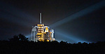 The Space Shuttle Atlantis sits on the launch pad  in pre-dawn darkness at Kennedy Space Center on Friday, July 8, 2011.  Atlantis' mission is the final one of the program's 30 year history.