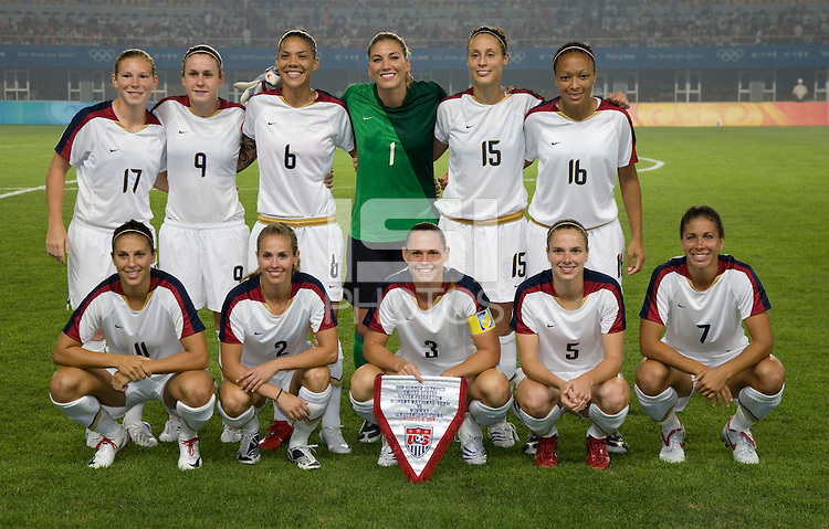 The USWNT lines up before first round play for the 2008 Beijing Olympics in Qinhuangdao, China. .  The US lost to Norway, 2-0, at Qinhuangdao Stadium.
