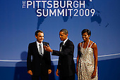 Pittsburgh, PA - September 24, 2009 -- United States President Barack Obama (C) and U.S. first lady Michelle Obama (R) welcome Spanish President Jose Luis Rodriguez Zapatero to the welcoming dinner for G-20 leaders at the Phipps Conservatory on September 24, 2009 in Pittsburgh, Pennsylvania. Heads of state from the world's leading economic powers arrived today for the two-day G-20 summit held at the David L. Lawrence Convention Center aimed at promoting economic growth.  .Credit: Win McNamee / Pool via CNP