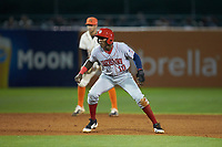 Juan Pascal (10) of the Hagerstown Suns takes his lead off of second base against the Greensboro Grasshoppers at First National Bank Field on April 6, 2019 in Greensboro, North Carolina. The Suns defeated the Grasshoppers 6-5. (Brian Westerholt/Four Seam Images)
