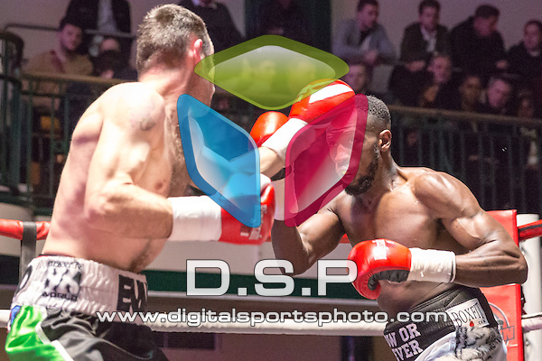 Josh Nelson VS Dean Evans - Welterweight Contest. Photo by: Stephen Smith.<br /> <br /> Goodwin Boxing: Paddy's Day Punch Up - Saturday 19th March 2016. York Hall, Bethnal Green, London, United Kingdom.