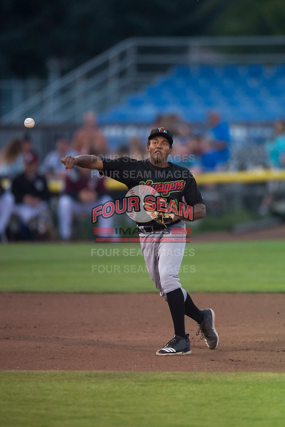 Great Falls Voyagers third baseman Bryce Bush (8) throws to first base during a Pioneer League game against the Idaho Falls Chukars at Melaleuca Field on August 18, 2018 in Idaho Falls, Idaho. The Idaho Falls Chukars defeated the Great Falls Voyagers by a score of 6-5. (Zachary Lucy/Four Seam Images)