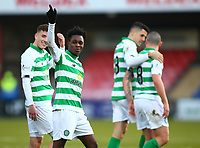 1st December 2019; Global Energy Stadium, Dingwall, Highland, Scotland; Scottish Premiership Football, Ross County versus Celtic; Jeremie Frimpong of Celtic points to the Celtic supporters as they chant his name - Editorial Use