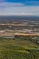 Aerial of the city of Fairbanks, Alaska and the Alaska Range mountains.