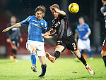 St Johnstone v Kilmarnock...07.11.15  SPFL  McDiarmid Park, Perth<br /> Murray Davidson and Steven Smith<br /> Picture by Graeme Hart.<br /> Copyright Perthshire Picture Agency<br /> Tel: 01738 623350  Mobile: 07990 594431