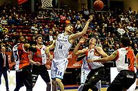 GRONINGEN - Basketbal, Donar - Feyenoord, Eredivisie, seizoen 2019-2020, 10-11-2019, Donar speler Thomas Koenis in duel met Willem Brondwijk