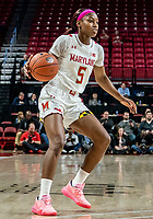 COLLEGE PARK, MD - FEBRUARY 03: Kaila Charles #5 of Maryland on the attack during a game between Michigan State and Maryland at Xfinity Center on February 03, 2020 in College Park, Maryland.