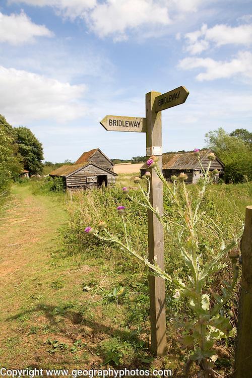 Wooden bridleway sign Ramsholt Suffolk England