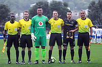 The match officials with team captains before the Oceania Football Championship final (first leg) football match between Team Wellington and Lautoka FC at David Farrington Park in Wellington, New Zealand on Sunday, 13 May 2018. Photo: Dave Lintott / lintottphoto.co.nz