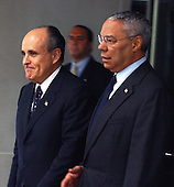 United States Secretary of State Colin Powell, right, and former New York Mayor Rudy Giuliani, left, make departure statements after their meeting at the State Department in Washington, DC on June 13, 2003..Powell announced Giuliani will lead a Bush administration delegation to a conference called to address rising incidents of anti-semitism in Europe.  .Credit: Ron Sachs / CNP.(RESTRICTION: NO New York or New Jersey Newspapers or newspapers within a 75 mile radius of New York City)