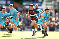 George Ford of Leicester Tigers takes on the Worcester Warriors defence. Gallagher Premiership match, between Leicester Tigers and Worcester Warriors on September 21, 2018 at Welford Road in Leicester, England. Photo by: Patrick Khachfe / JMP