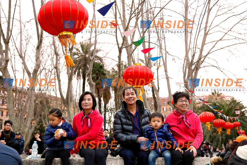 A Chinese family<br /> Rome February 10th 2019. Celebrations for Chinese New Year 2019 in Rome. This year begins the year of the pig.<br /> Foto Samantha Zucchi Insidefoto