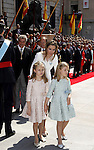 Coronation ceremony in Madrid. Queen Letizia of Spain leave Congreso de los Diputados with their children Princess Leonor and enfant Sofía. June 19 ,2014. (ALTERPHOTOS/EFE/Pool)