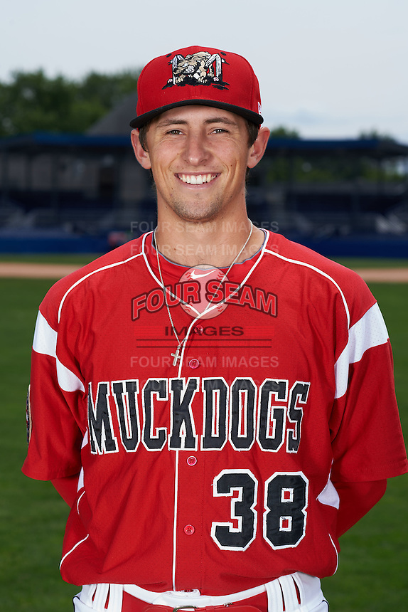 Batavia Muckdogs pitcher Cody Poteet (38) poses for a photo on July 8, 2015 at Dwyer Stadium in Batavia, New York.  (Mike Janes/Four Seam Images)