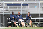 31 August 2014: LMU head coach Paul Krumpe (left) with assistant coaches Mathes Mennell (center) and Michael Erush (right). The Elon University Phoenix played the Loyola Marymount University Lions at Koskinen Stadium in Durham, North Carolina in a 2014 NCAA Division I Men's Soccer match. Elon won the game 1-0.
