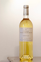 White wine. Chateau Villerambert-Julien near Caunes-Minervois. Minervois. Languedoc. France. Europe. Bottle.
