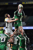 Matt Symons of London Irish wins the ball at a lineout. Aviva Premiership match, between London Irish and Wasps on November 28, 2015 at Twickenham Stadium in London, England. Photo by: Patrick Khachfe / JMP
