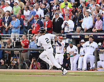 Derek Jeter (American),<br /> JULY 15, 2014 - MLB :<br /> American League All-Star Derek Jeter of the New York Yankees hits a double in the first inning during the 2014 Major League Baseball All-Star Game at Target Field in Minneapolis, Minnesota, United States. (Photo by AFLO)