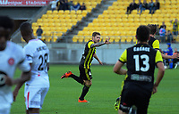 Armando Sosa Pena celebrates his goal during the A-League football match between Wellington Phoenix and West Sydney Wanderers at Westpac Stadium in Wellington, New Zealand on Sunday, 17 March 2019. Photo: Dave Lintott / lintottphoto.co.nz