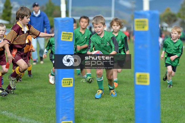 NELSON, NEW ZEALAND - MAY 21: Kids Rugby at Tahunanui, Nelson, New Zealand. on May 21 2016 (Photo by: Barry Whitnall/Shuttersport Limited)