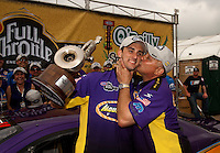 May 1, 2011; Baytown, TX, USA: NHRA pro stock driver Vincent Nobile (left)celebrates with father John Nobile after winning the Spring Nationals at Royal Purple Raceway. Mandatory Credit: Mark J. Rebilas-