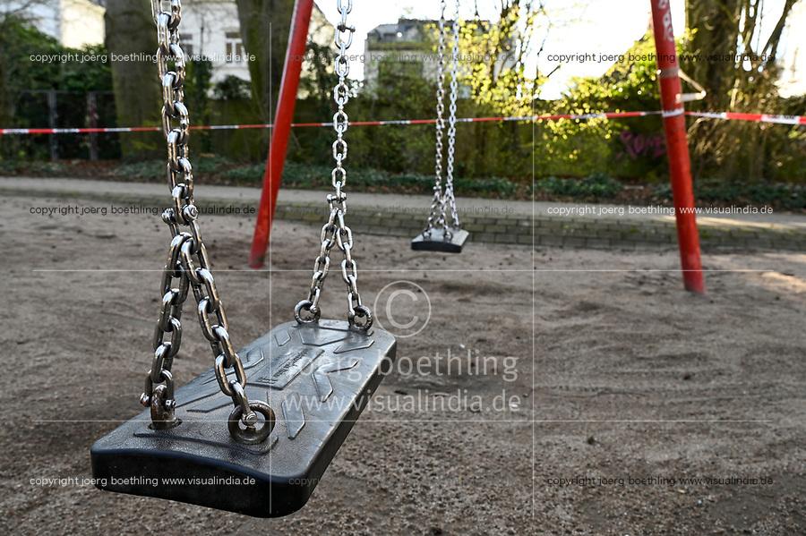 GERMANY, Hamburg, Corona Virus, COVID-19 , closed children playground to avoid infection / von der Polizei geschlossener Spielplatz zur Vermeidung sozialer Kontakte und Übertragung des Virus