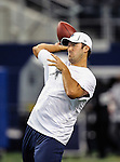 Dallas Cowboys quarterback Tony Romo (9) in action before the pre- season game between the St. Louis Rams and the Dallas Cowboys at the Cowboys Stadium in Arlington, Texas. Dallas defeats St. Louis  20 to 19.
