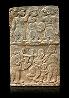 Pictures & images of the North Gate Hittite sculpture stele depicting musicians playing instruments. 8the century BC.  Karatepe Aslantas Open-Air Museum (Karatepe-Aslantaş Açık Hava Müzesi), Osmaniye Province, Turkey. Against black background