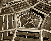 historical aerial photograph Dwight Eisenhowever reception, Pentagon, 1945