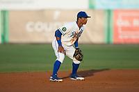Burlington Royals shortstop Oliver Nunez (7) on defense against the Danville Braves at Burlington Athletic Stadium on August 14, 2017 in Burlington, North Carolina.  The Royals defeated the Braves 9-8 in 10 innings.  (Brian Westerholt/Four Seam Images)