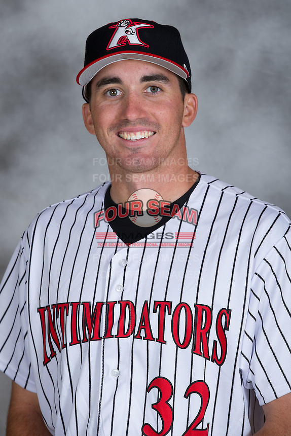 Kannapolis Intimidators pitcher Zach Thompson (32) poses for a photo at Kannapolis Intimidators Stadium on April 5, 2016 in Kannapolis, North Carolina.  (Brian Westerholt/Four Seam Images)