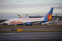 A Jet2 Boeing 737-804 Registration G-GDFJ at Manchester Airport on 11.2.19 going to Malaga Airport, Spain.